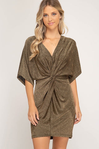 Shine On Metallic Dress in Gold