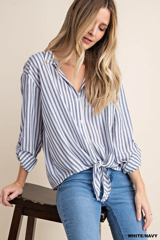 Tied to Stripes Top in Blue