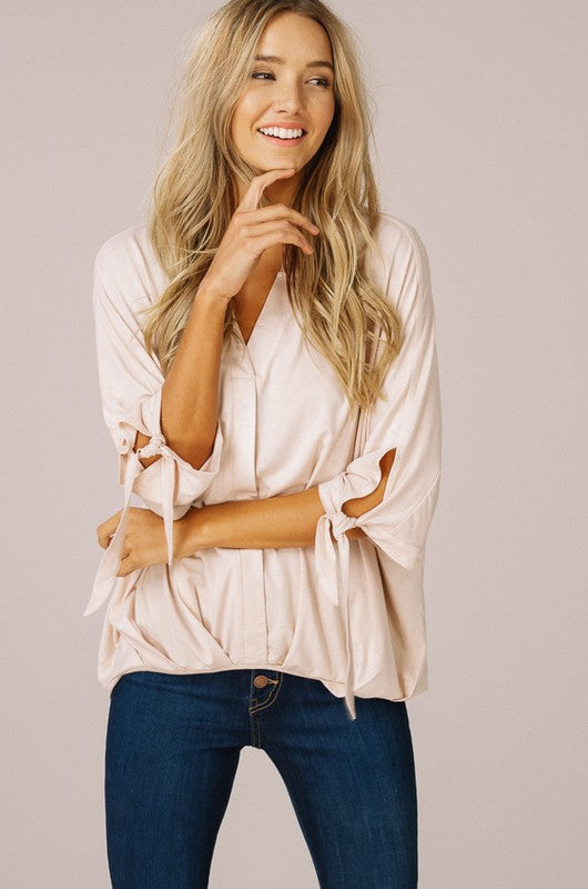 V-neck Dolman Blouse in Blush