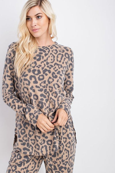 Cozy Cool Leopard Top in Camel