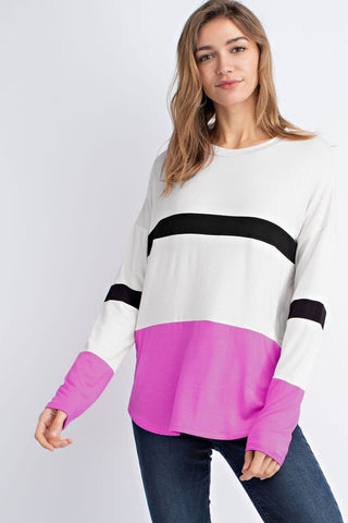 Bright Block Top in Fuchsia