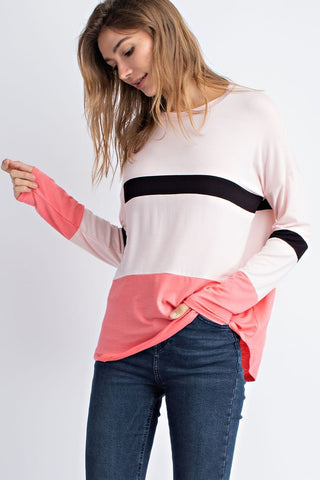 Bright Block Top in Coral
