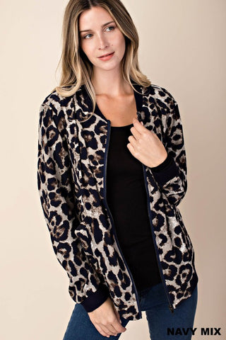 Leopard Bomber Jacket in Navy Mix