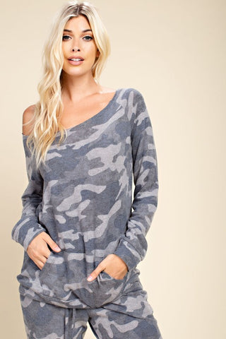 Boat Neck Camo Top in Charcoal