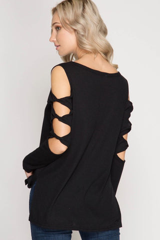Twist Sleeve Top in Black
