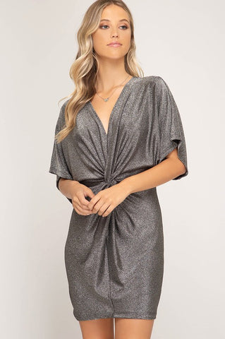 Shine On Metallic Dress in Silver