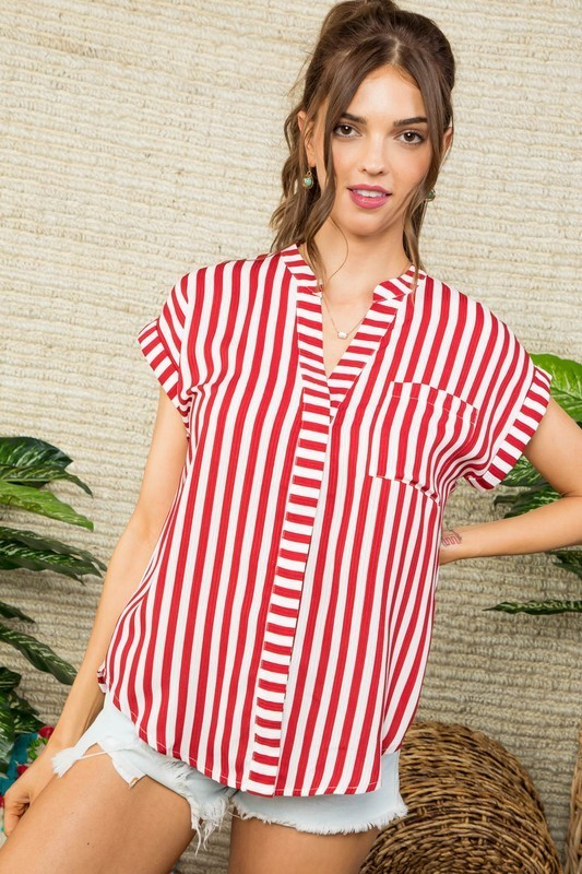 Statement Striped Top in Red