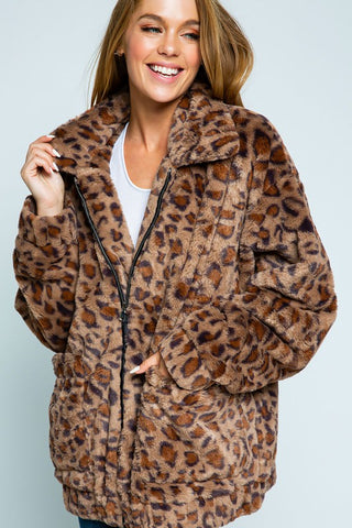 Coziest Leopard Jacket in Brown
