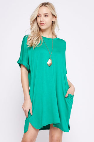 Relaxed Shirt Dress in Kelly Green