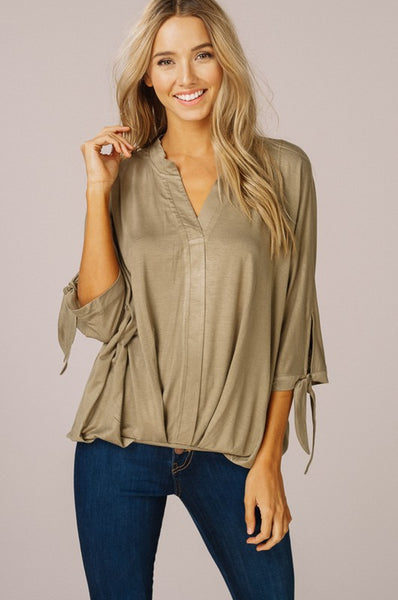 V-neck Dolman Blouse in Olive