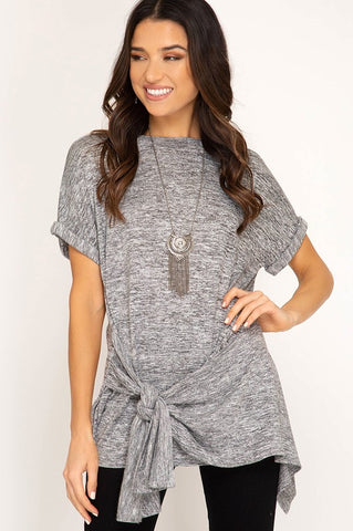 Side Tie Top in Grey