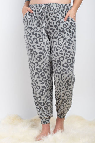 Leopard Joggers in Grey Plus