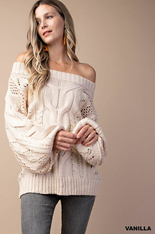 Cable Knit Sweater in Cream