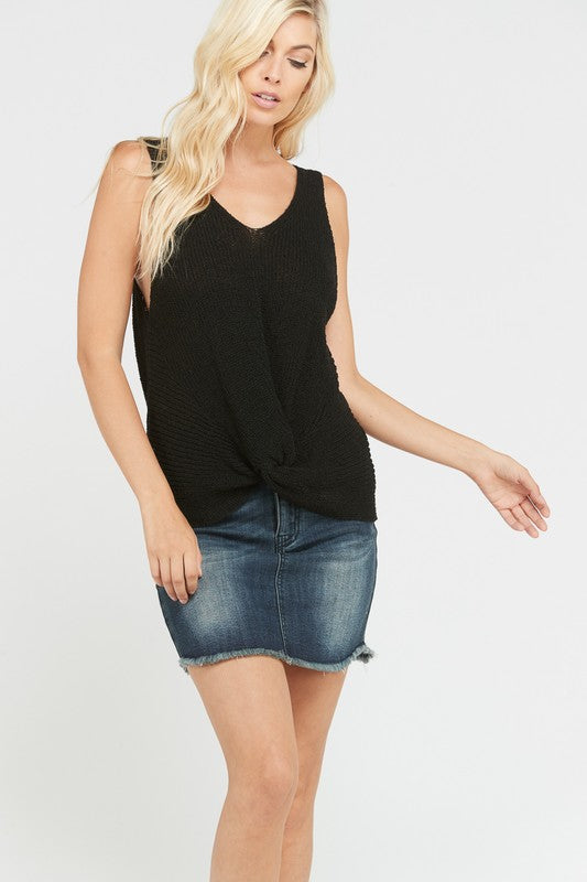 Twisted Sleeveless Sweater in Black
