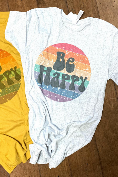 Be Happy Tee in WHITE FLECK