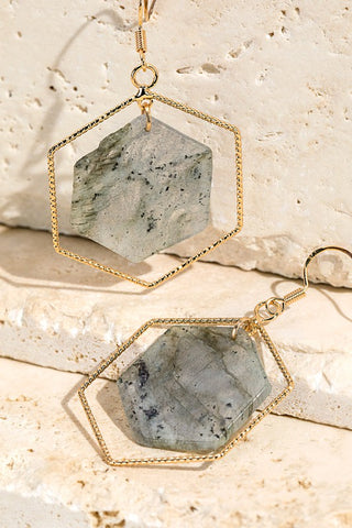 Hexagon Natural Stone Earring in Grey
