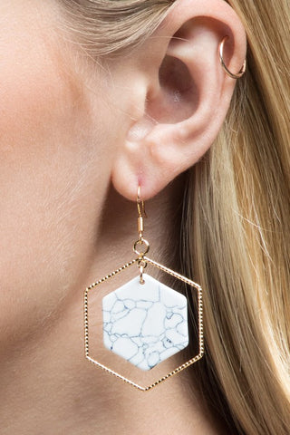 Hexagon Natural Stone Earring in White