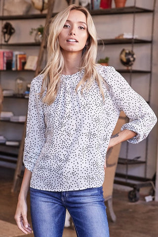 Easy to Please Polka Dot Top in Off White