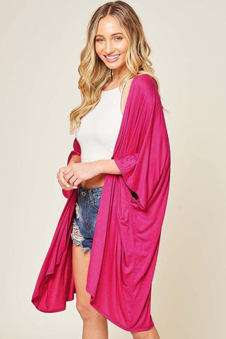 Complete Solid Kimono in Hot Pink