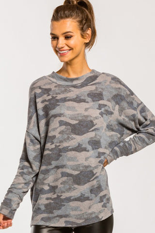 Ultra Soft Camo Lounge Top in Grey