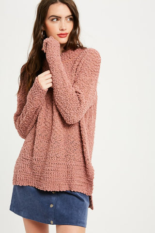 Popcorn Sweater in Rose
