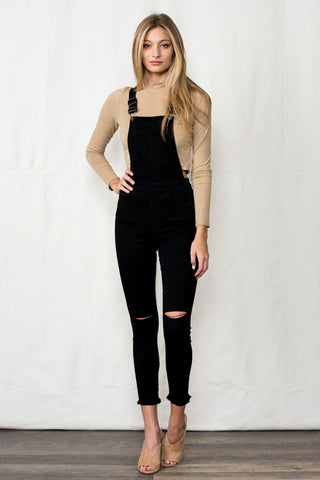 City Lights Distressed Overalls in Black