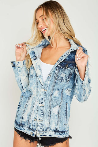 Boyfriend Distressed Denim Jacket