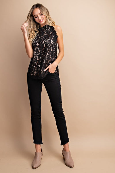 My Heart Lace Top in Black
