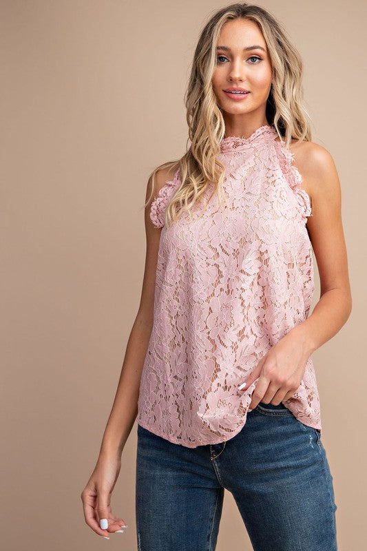 My Heart Lace Top in Mauve