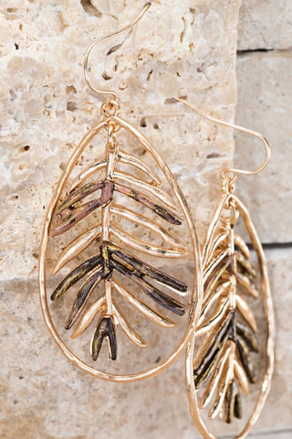 Metal Leaf Earrings in Gold/Brown