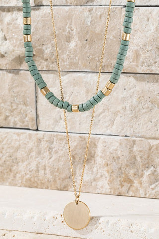 Beaded Double Layered Necklace in Sage