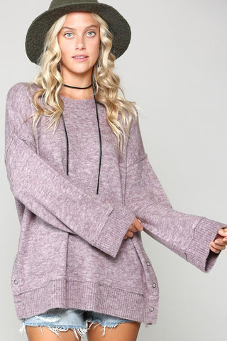 Comfy Cozy Snap Sweater in Purple