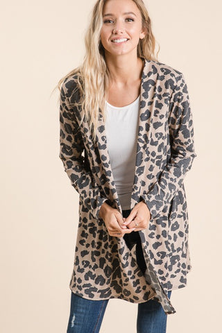 Casual Animal Print Cardigan