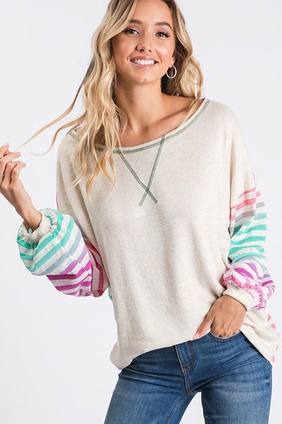 Comfy Casual Colorful Striped Top