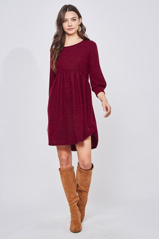Falling in Love Sweater Dress in Burgundy