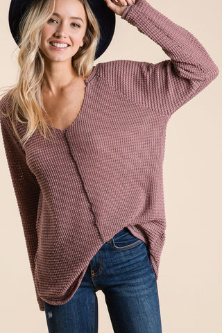Poppy Waffle Knit Top in Mauve