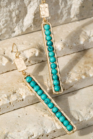 Stone Bar Earrings in Turquoise