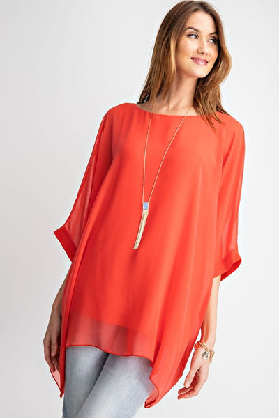 Effortless Chiffon Tunic in Coral