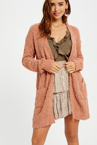 Best Selling Popcorn Cardigan in Clay