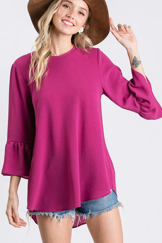 Work to Weekend Woven Top in Magenta