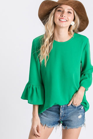Work to Weekend Woven Top in Kelly Green