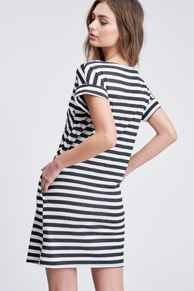Easy Come, Easy Go Striped Dress in Black