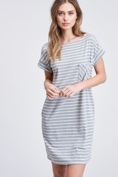 Easy Come, Easy Go Striped Dress in Grey