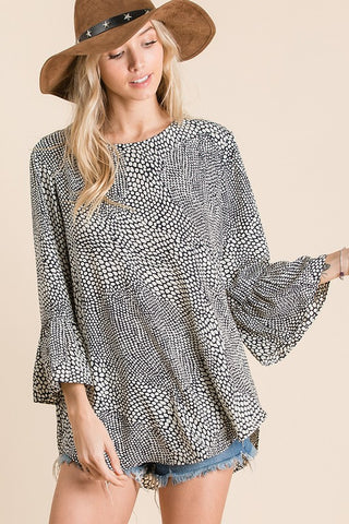 Geo Ruffle Sleeve Top