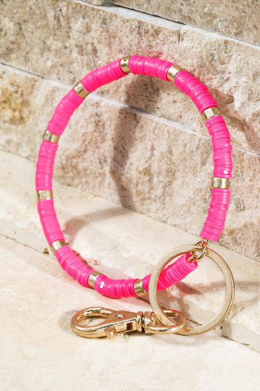 Disc Bead Key Ring Bracelet in Hot Pink