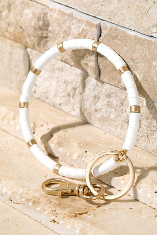Disc Bead Key Ring Bracelet in White