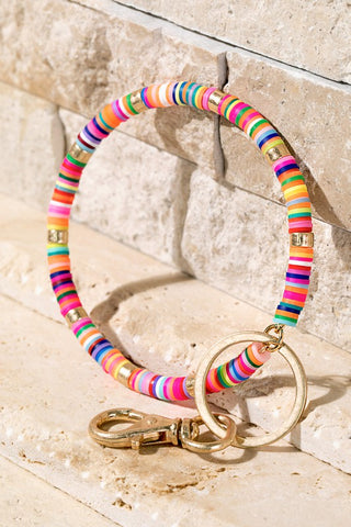Disc Bead Key Ring Bracelet in Multi