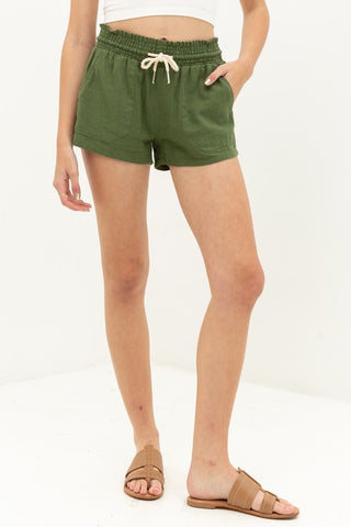 Essential for Summer Shorts in Olive