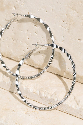 Textured Hoop Earrings in Silver