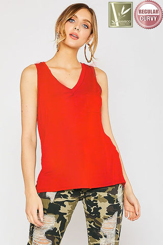 Bamboo Tank in Red